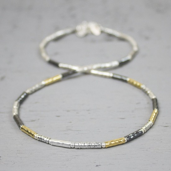 JEH collier zilver 42cm oxy and white shiny + goldfill - 10028395