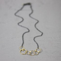 JEH Collier zilver oxy + Goldfilled cirkels - 10032623